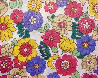 Floral Fabric By The Yard - Daisies and Blooms on Cream - Half Yard