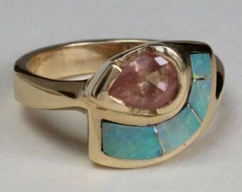 Opal Inlay Ring Pink Saphire 14k Gold Australian Opal