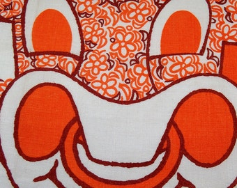 Vintage Kitsch Tea Towel - Pristine Condition - Orange and Brown Floral Cow for Oxo