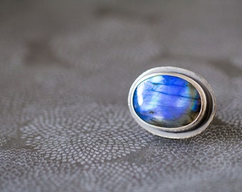 Labradorite Ring in Sterling Silver Cocktail Ring - Size 7.25 - Twilight