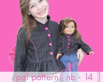Little Miss Derby Jacket - INSTANT download - pdf sewing pattern - nb through 14 and 18 doll