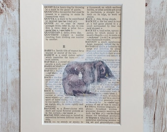 Image Transfer Rabbit  on  Dictionary Page, Mixed Media