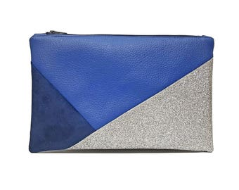 Blue glitter cosmetic bag suede and imitations leather / blue and silver make up pouch / waterproof pouch pencil case / Bridesmaid bag /