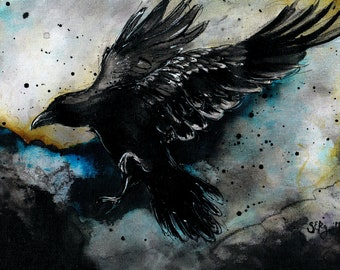 Original raven poster art - Ink on 8x12in canvas, A4, 21x30cm - colorful stormy sky