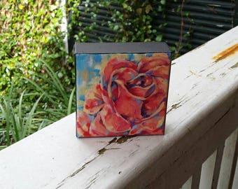 Mini Rose Original Painting on 3D Canvas