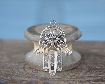 Vintage French Brass Stamping/Antique Style/Islamic/Hamsa Hand/Hand of Fatima/Filigree/French Findings