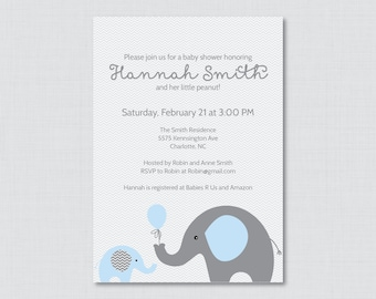 Elephant Baby Shower Invitation Printable Or Printed Invite   Elephant Baby  Shower Invites In Blue And