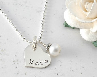 Personalized tiny heart Necklace - Hand Stamped - Birthstone or pearl