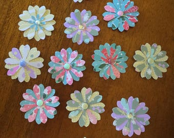 12 Assorted Punched Flowers with Brad and Craft Cabochon Centres