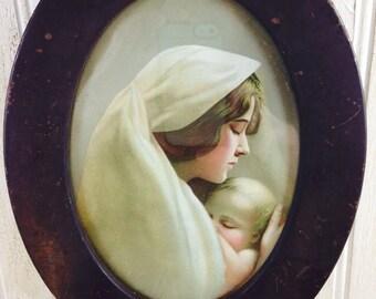 Vintage Framed Mother and Baby Print