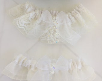 Keepsake Bridal and Toss Garter in Ivory and White