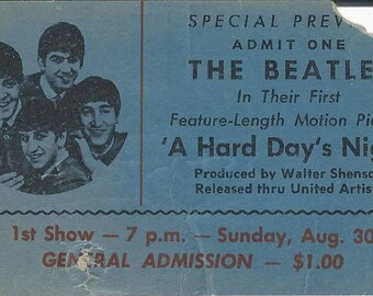 """Vintage Beatles Special Preview """"A Hard Days Night' Movie Ticket"""
