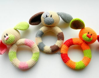 Baby toy Rattle Teething baby toy Grasping Teething Crochet Toys Dog Stuffed toys Baby shower gift Christmas baby gift