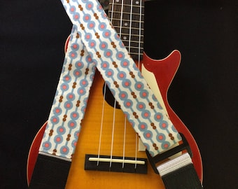 Ukulele strap, mandolin strap or child guitar strap // retro mid century modern pattern in white, blue and pink // unique musician gift