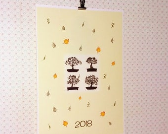 Bonsai, printed calendar poster A4, 2018 wall montly calendar, 12 pages.