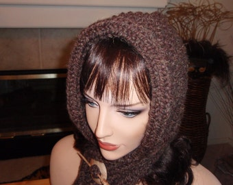 Hooded  Scarf  - Rich Brown with Wooden Shawl Pin - FREE SHIPPING