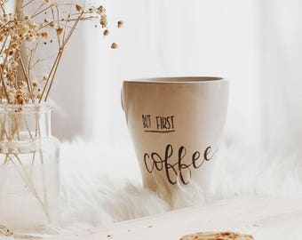 But first coffee-personalized mug with calligraphy