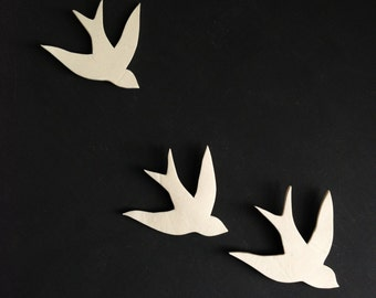 Together - Porcelain swallows wall sculpture art Bathroom Art Bathroom decor Modern decorative ceramic wall decor Set of three birds