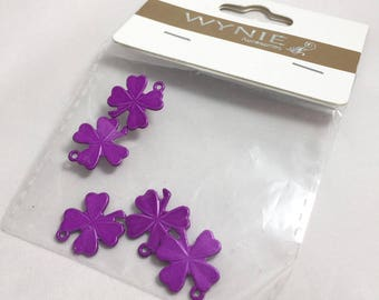 5 charms Shamrock 4 leaf - painted metal - purple - l 18 mm
