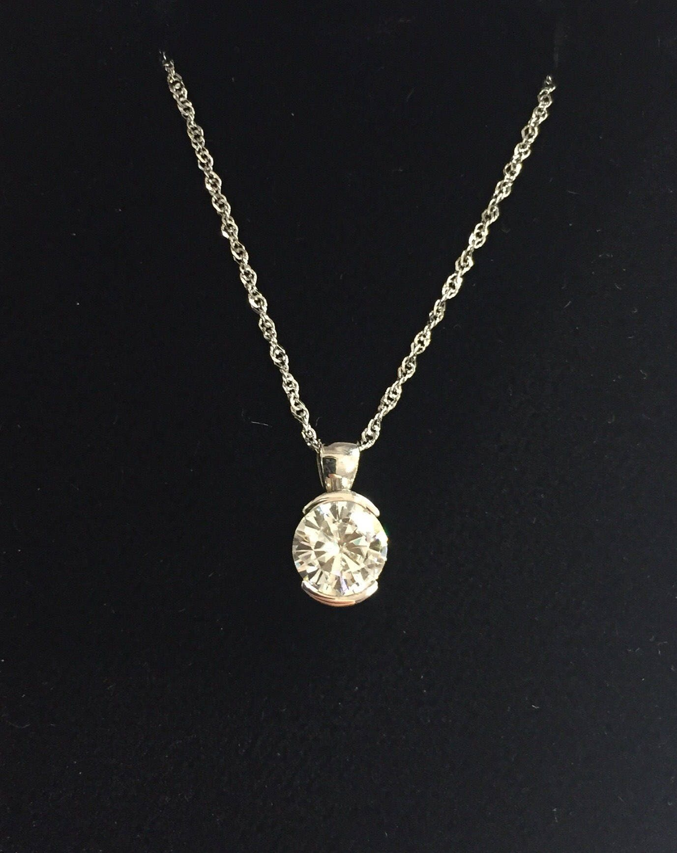 on cable chain quick round view pendant p moissanite solitaire necklace