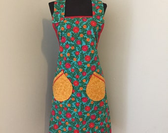 Apron - 100% Cotton Apron for Women - one size fits most- Kitchen Hostess - Zinnia