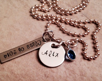 Personalized graduation necklace high school college university