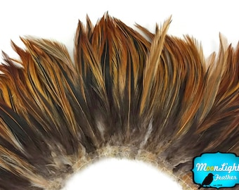 Rooster Feathers, 4 Inch Strip - FURNACE Strung Rooster Neck Hackle Feathers : 3905