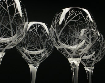 4 Crystal 17 oz. Red Wine Glasses Forest Tree Engraved 'Reaching Branches' Nature Inspired Woodland Table Decor