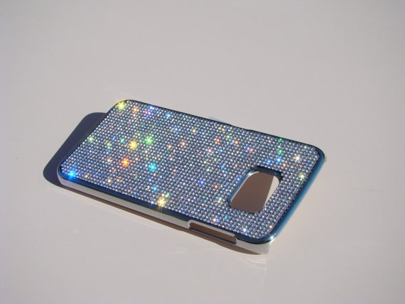 Galaxy S6 Edge Clear Diamond Rhinestone Crystals on Silver Chrome Case. Velvet/Silk Pouch Bag Included, Genuine Rangsee Crystal Cases