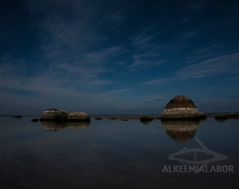 Norrkeld night view - fine art photography, instant download printable art, wall art, home decor, nature, office decor, sea, sky, reflection