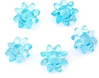 5 boutons polyester fleur translucide effet moulé bleu diamètre 22mm