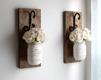 Rustic Home Decor -Mason Jars Sconce-Mother's Day Decor-Rustic Sconces-Rustic Wall Decor-Farmhouse Sconce-Wall Hanging Decor-Farmhouse Decor