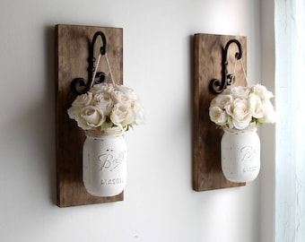 Merveilleux Rustic Home Decor  Mason Jars Sconce Motheru0027s Day Decor Rustic  Sconces Rustic