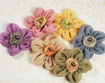 Prima Ballerina Blooms Assorted Daisy Mini small Chiffon Silk with pearl fabric Flowers