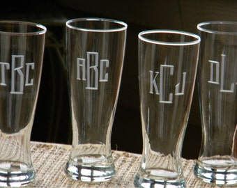 Monogrammed 20oz Personalized Beer Pilsner Glasses  Hand Engraved with initials, Set of 8
