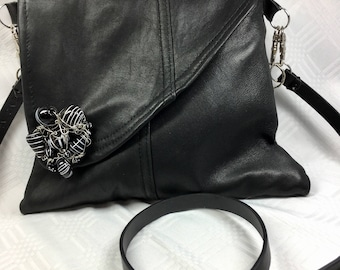 Black Leather Bag with Black and White Glass Beaded Clasp