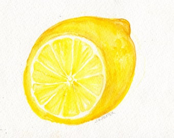 Lemon Watercolor Painting, Lemon painting, Artwork, Original Lemon wall art, lemon illustration 5 x 7 lemon kitchen decor, Modern minimalist