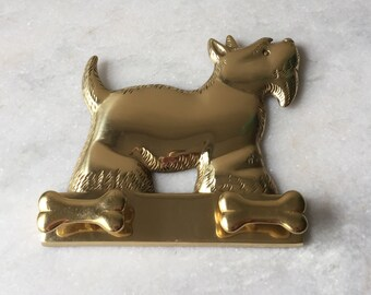 Vintage Brass Scottie Wall Mount Hooks.