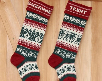 Knitted Personalized Christmas Stocking with a Moose