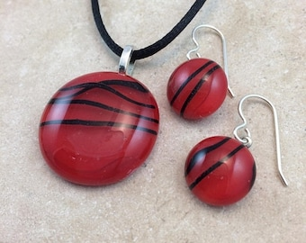 ON SALE Necklace & Earring Set, Fused Glass Jewelry, Red and Black Glass Jewelry, Sterling Earrings - HEA587
