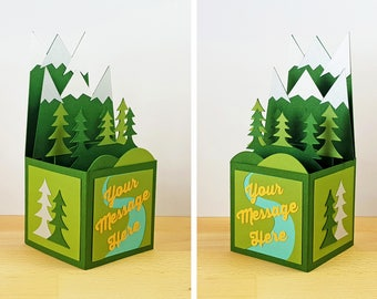 Custom Made Pop Up Card, Pop Up Mountain Card, Pop Up Forest Card, Mountain Range, River Nature, Custom 3D Box Card, Personalized, CardBloom