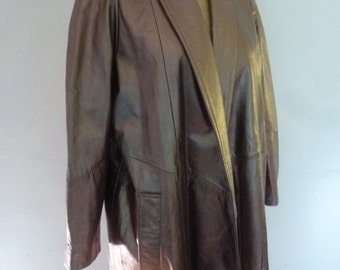80's Leather Coat Brown Leather Shawl Collar Boho Swing Style Made for Neiman Marcus Size XS Made in USA
