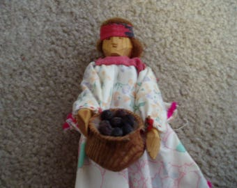 Rough Hand Carved Wood Native American Indian Doll