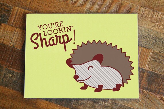 Cute Hedgehog Pun Card Youre Lookin