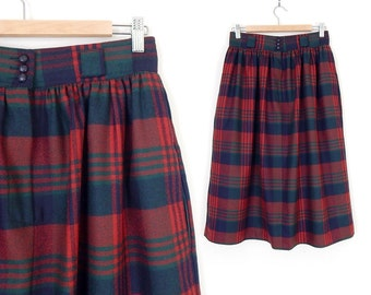 Sz 8 High Waisted Red Plaid Skirt - Vintage 80s Womens Wool Tartan Gathered Waist Pleated Baggy Midi Skirt - 28 Waist