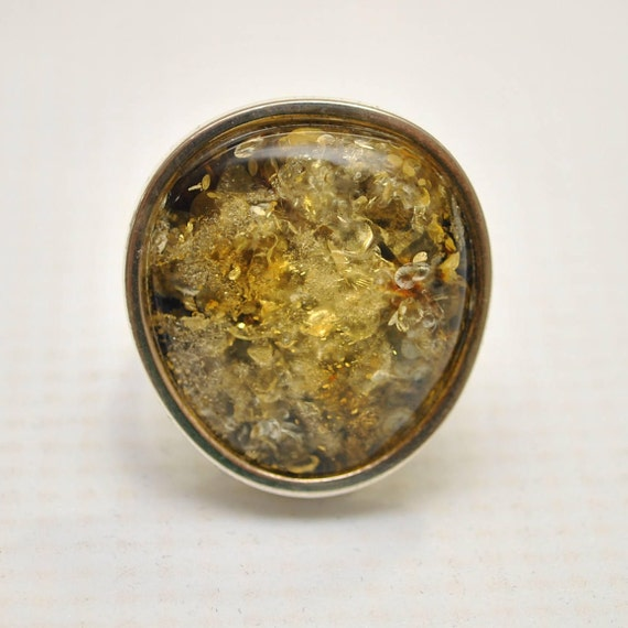 Sterling Silver Green Amber Adjustable Ring #9306