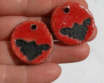 Pair of pendants for earrings, Bohemian rustic enamel primitive red and black raku ceramic urban ooak