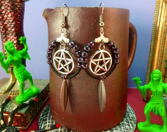 Creole earrings, beads, leaves and silver pentacle