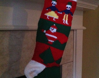 Personalized Handmade Knitted Christmas Stocking *Wool Available* - Dancing Kids, Santa & Trees