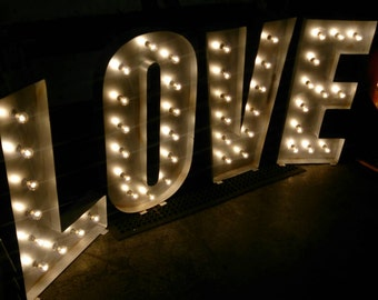 Large 1.1m 4ft LOVE Letter Lights Made in The UK Silver